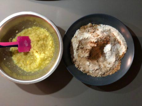 Příprava bezlepkových ořechových muffinů.